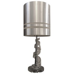 1970s Amazing Angelo Brotto Spiral Transparent Murano Glass Table Lamp