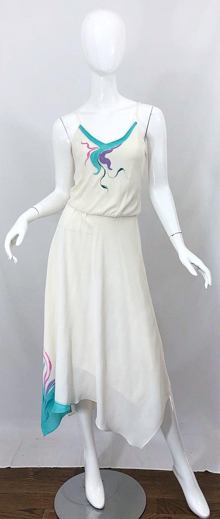 1970s Amazing Handkerchief Hem Ivory + Purple + Pink + Blue Slinky Vintage Dress For Sale 5