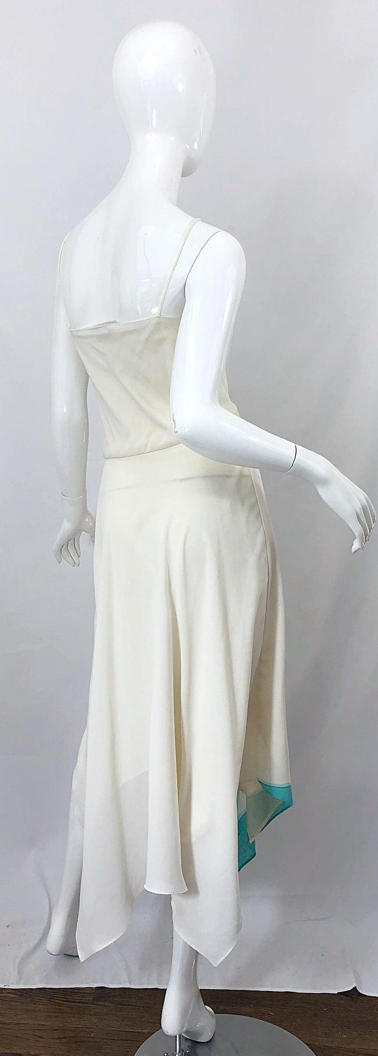 1970s Amazing Handkerchief Hem Ivory + Purple + Pink + Blue Slinky Vintage Dress For Sale 6