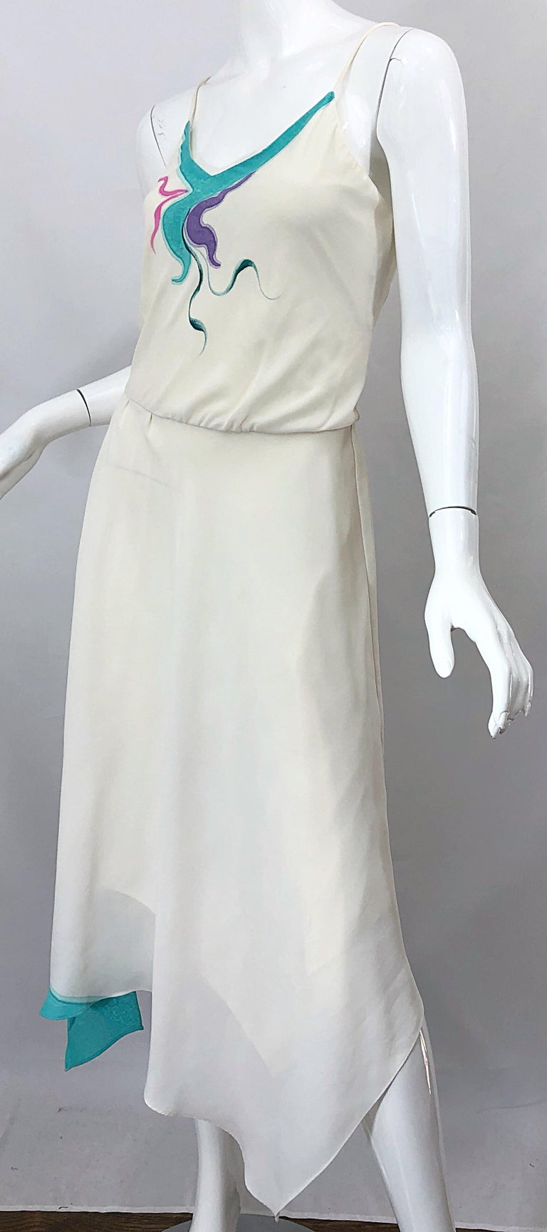 1970s Amazing Handkerchief Hem Ivory + Purple + Pink + Blue Slinky Vintage Dress For Sale 7