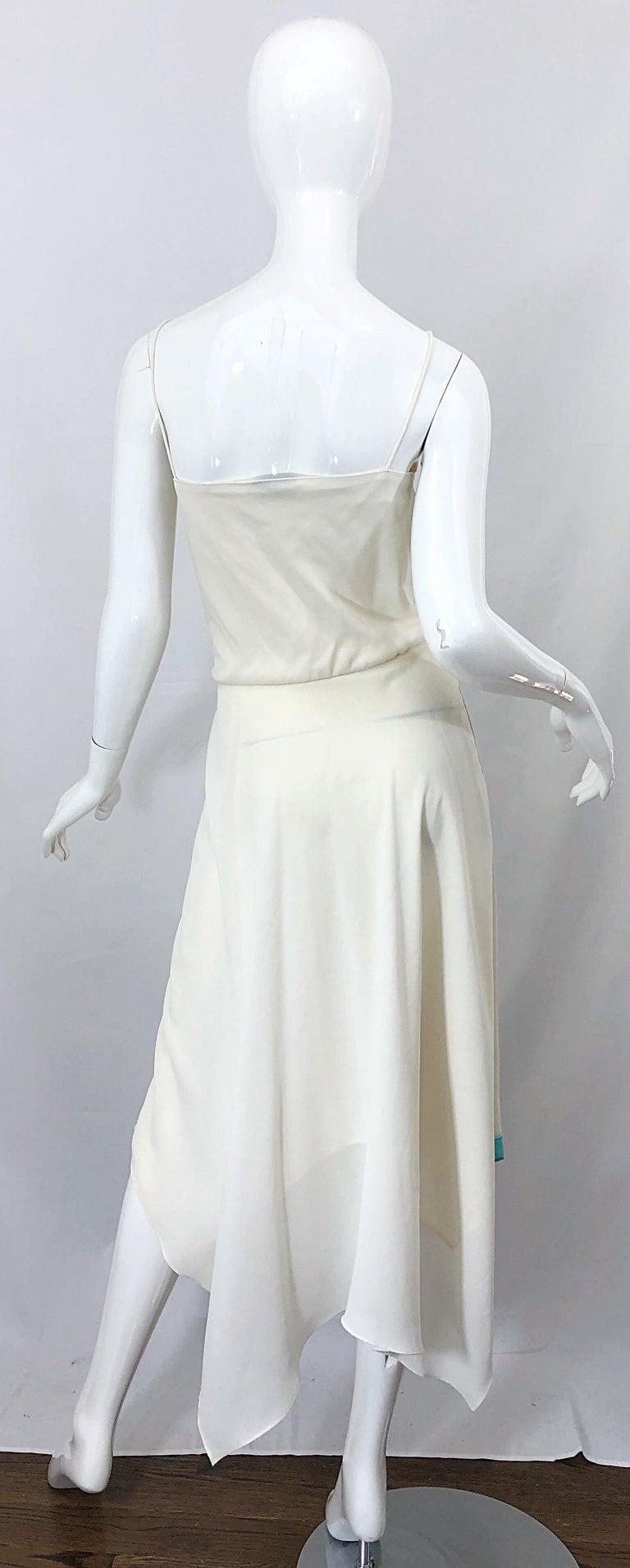 Gray 1970s Amazing Handkerchief Hem Ivory + Purple + Pink + Blue Slinky Vintage Dress For Sale