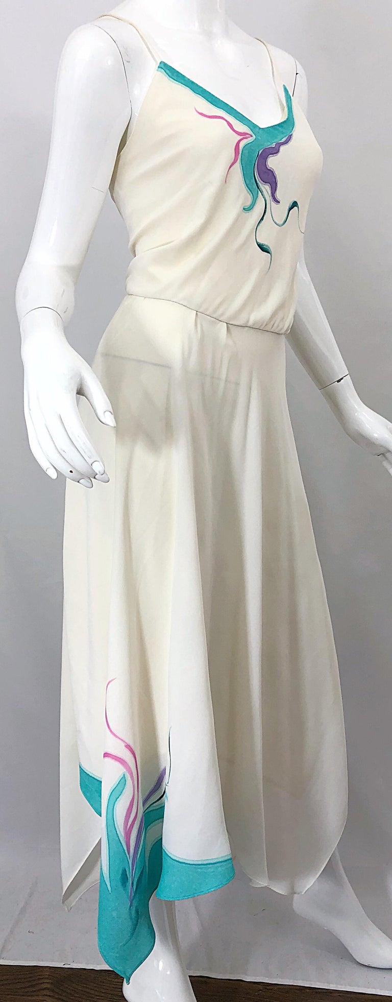 1970s Amazing Handkerchief Hem Ivory + Purple + Pink + Blue Slinky Vintage Dress In Excellent Condition For Sale In Chicago, IL