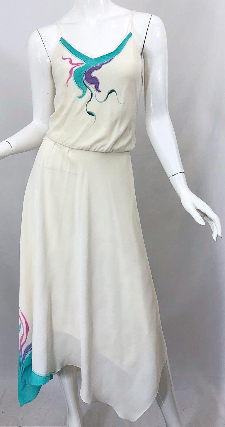 Women's 1970s Amazing Handkerchief Hem Ivory + Purple + Pink + Blue Slinky Vintage Dress For Sale
