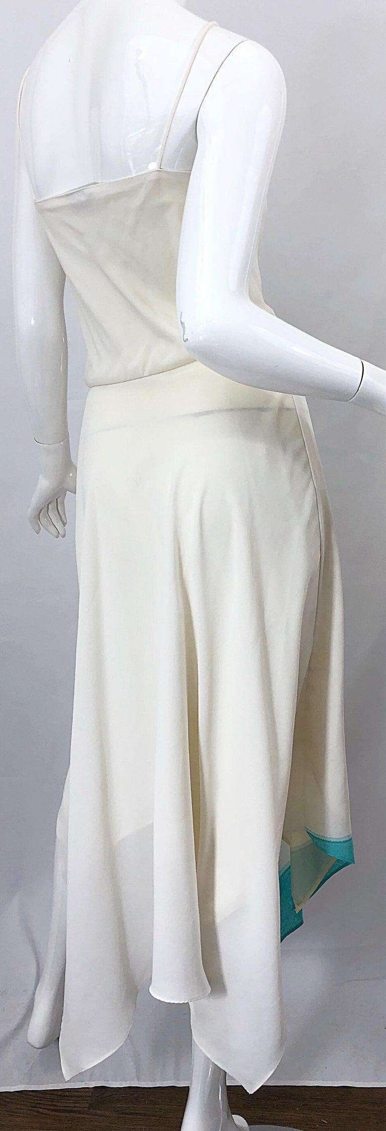 1970s Amazing Handkerchief Hem Ivory + Purple + Pink + Blue Slinky Vintage Dress For Sale 1