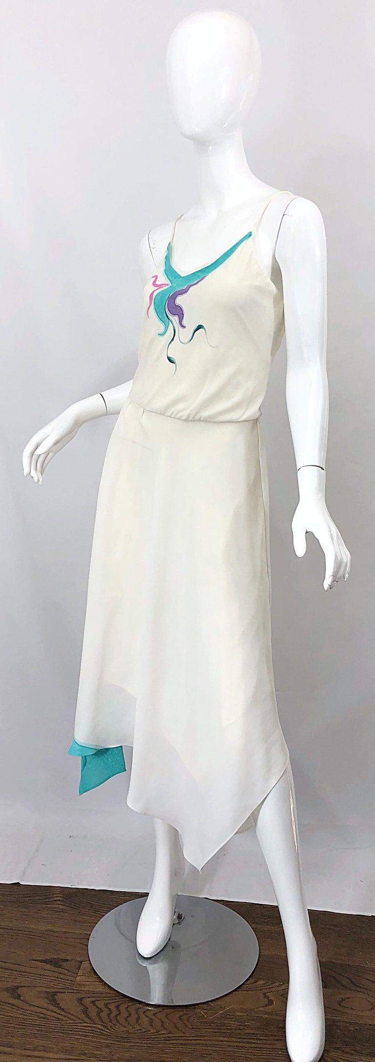 1970s Amazing Handkerchief Hem Ivory + Purple + Pink + Blue Slinky Vintage Dress For Sale 2