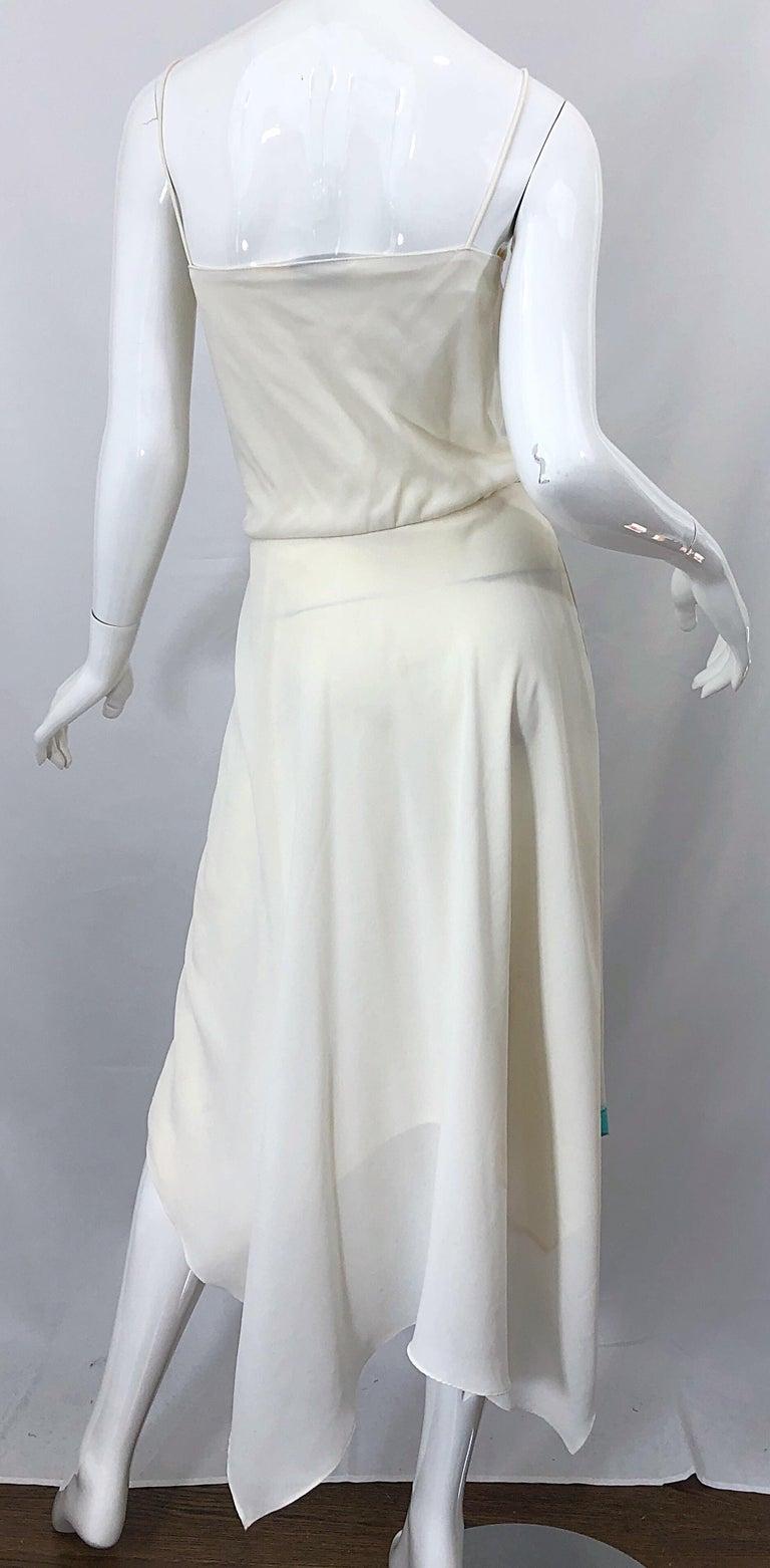 1970s Amazing Handkerchief Hem Ivory + Purple + Pink + Blue Slinky Vintage Dress For Sale 3
