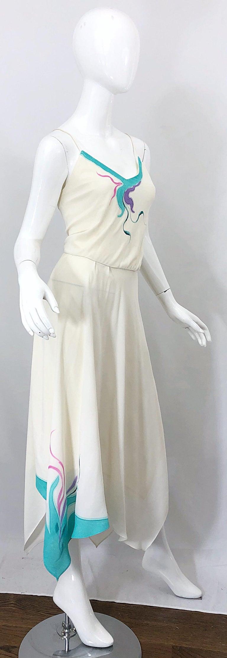 1970s Amazing Handkerchief Hem Ivory + Purple + Pink + Blue Slinky Vintage Dress For Sale 4