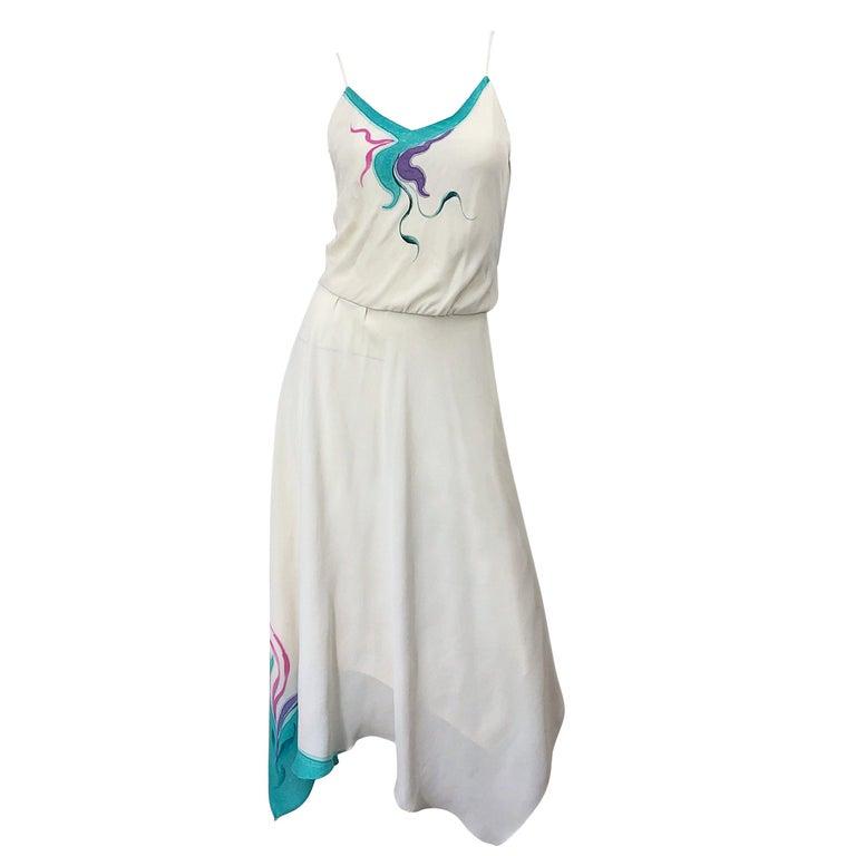 1970s Amazing Handkerchief Hem Ivory + Purple + Pink + Blue Slinky Vintage Dress For Sale