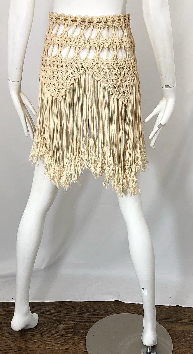 1970s Amazing Khaki Brown Boho Vintage 70s Crochet Fringe Belt Or Capelet Cape For Sale 5