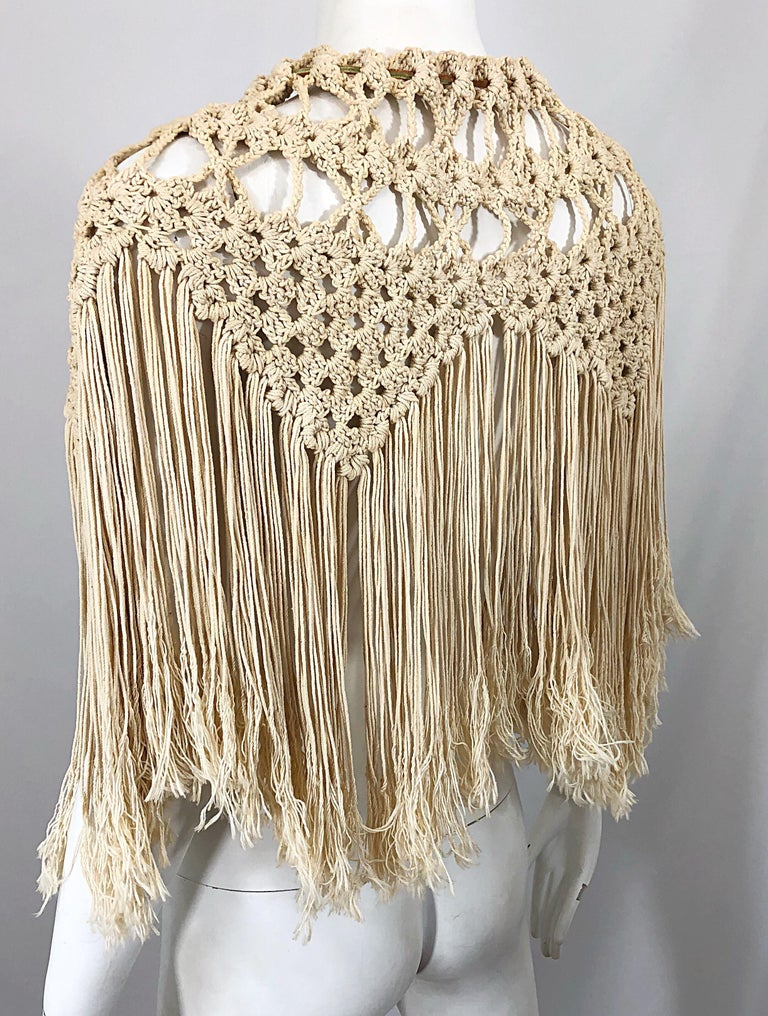 1970s Amazing Khaki Brown Boho Vintage 70s Crochet Fringe Belt Or Capelet Cape For Sale 6