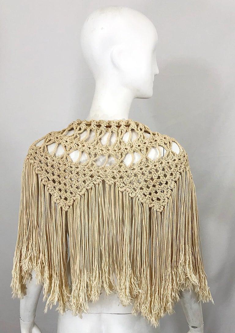 1970s Amazing Khaki Brown Boho Vintage 70s Crochet Fringe Belt Or Capelet Cape For Sale 8