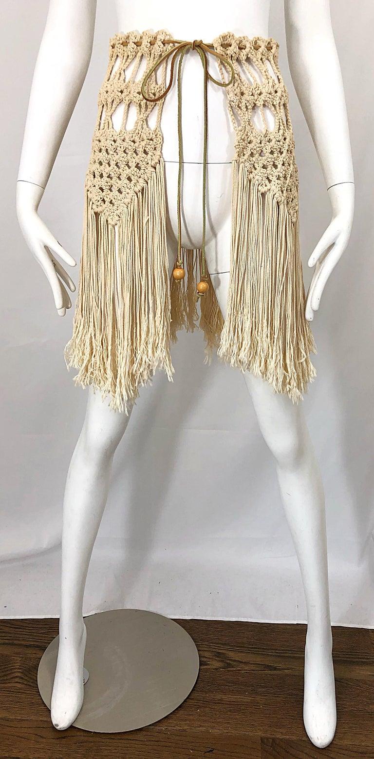 1970s Amazing Khaki Brown Boho Vintage 70s Crochet Fringe Belt Or Capelet Cape For Sale 9