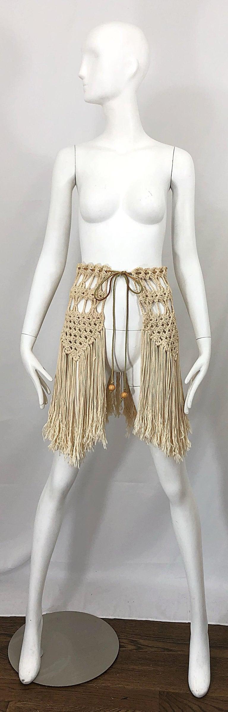 1970s Amazing Khaki Brown Boho Vintage 70s Crochet Fringe Belt Or Capelet Cape For Sale 11