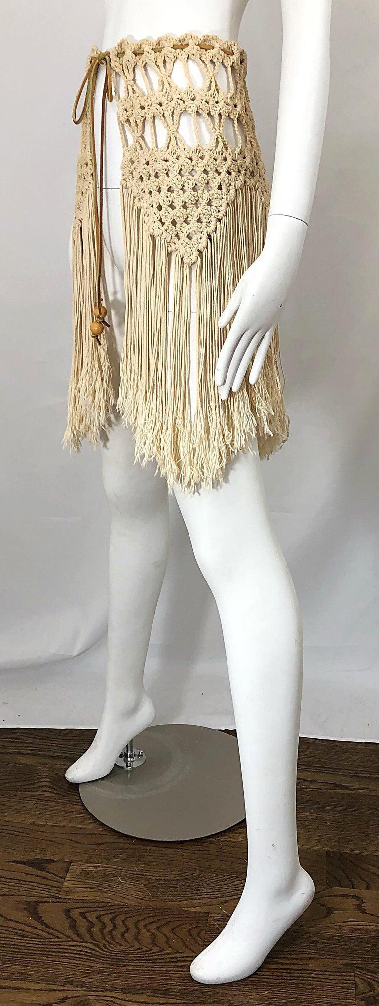 Women's or Men's 1970s Amazing Khaki Brown Boho Vintage 70s Crochet Fringe Belt Or Capelet Cape For Sale