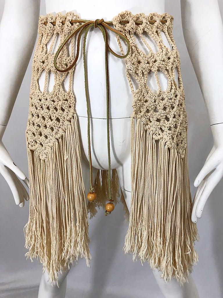 1970s Amazing Khaki Brown Boho Vintage 70s Crochet Fringe Belt Or Capelet Cape For Sale 1