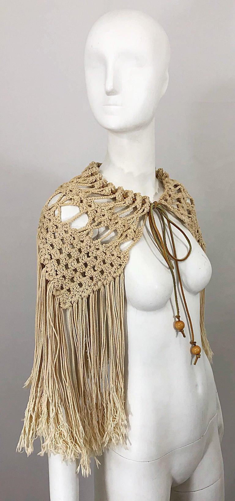 1970s Amazing Khaki Brown Boho Vintage 70s Crochet Fringe Belt Or Capelet Cape For Sale 2