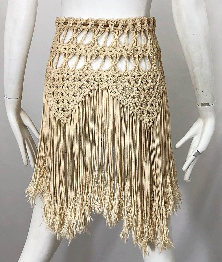 1970s Amazing Khaki Brown Boho Vintage 70s Crochet Fringe Belt Or Capelet Cape For Sale 3