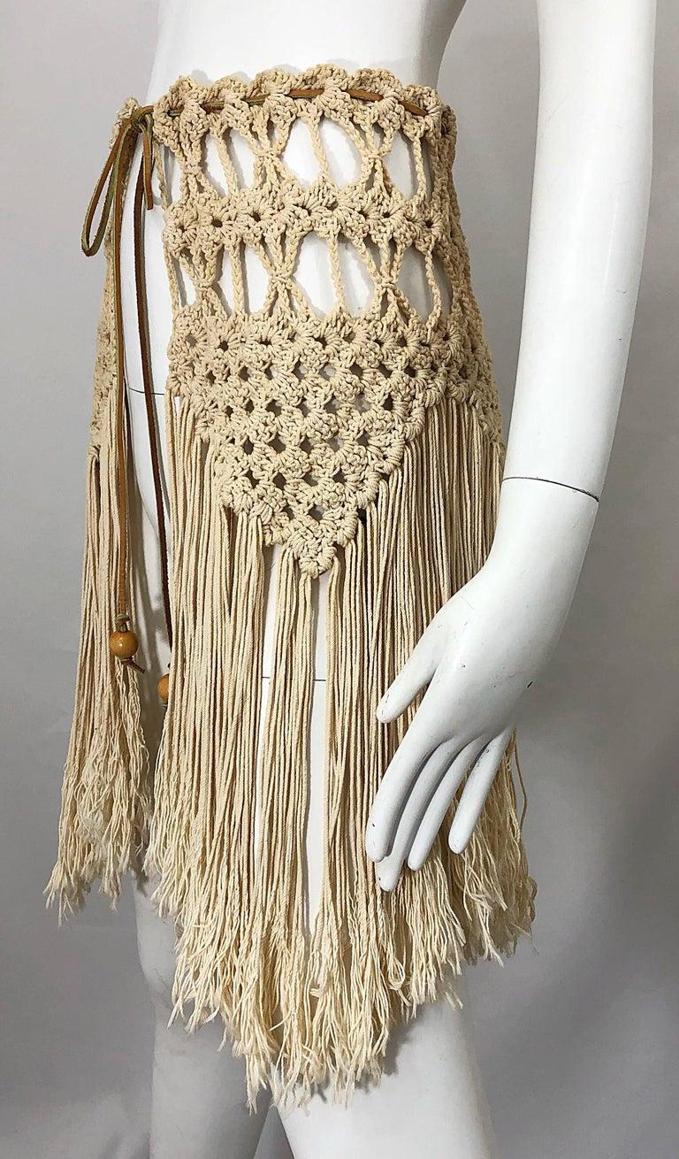 1970s Amazing Khaki Brown Boho Vintage 70s Crochet Fringe Belt Or Capelet Cape For Sale 4