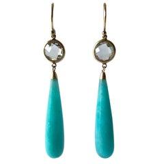 1970s Amazonite Crystal Gold Drop Earrings