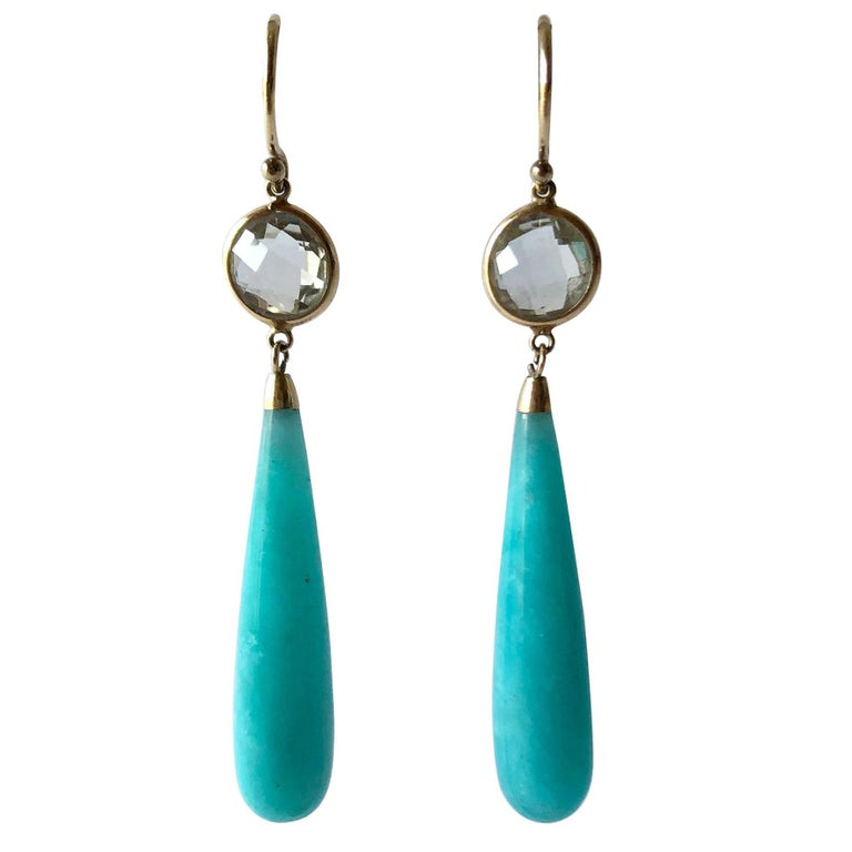 14k Gold Amazonite Crystal Drop Earrings