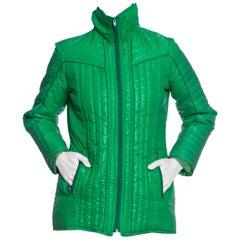 1970S AMEREX Kelly Green Nylon Puffer Ski Jacket