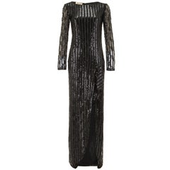 1970s Andre Laug Couture Black Sequin Vintage Dress