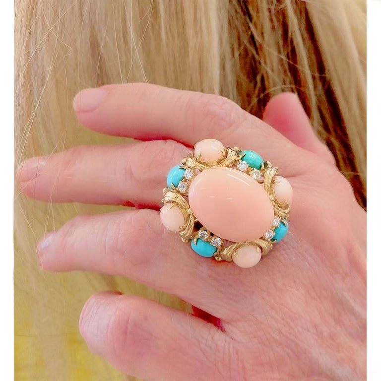 1970s Angel Skin and Turquoise Cocktail Ring In Good Condition For Sale In Miami, FL