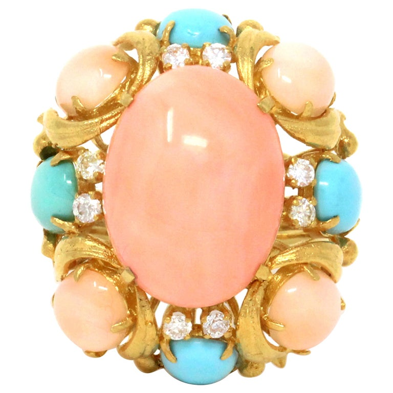 1970s Angel Skin and Turquoise Cocktail Ring For Sale