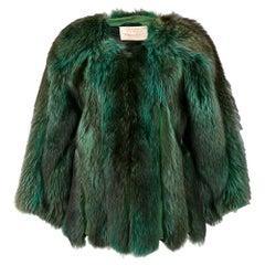 1970s A.N.G.E.L.O. Vintage Cult Green Fox Fur Coat