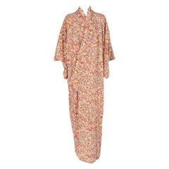 1970s A.N.G.E.L.O. Vintage Cult Red Floral Print Kimono