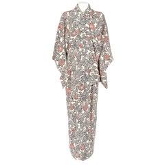 1970s A.N.G.E.L.O. Vintage Cult White Floral Print Kimono