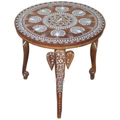 1970s Anglo Indian Teak Carved Elephant Peacock and Bone Inlay Side End Table