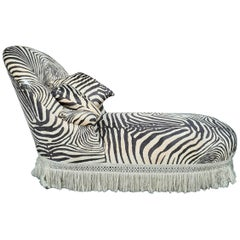 1970s Animal or Zebra Print Velvet Daybed