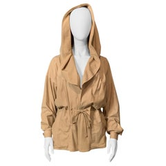 1970's Anne Klein Pale Beige Chamois Suede Jacket with Hood