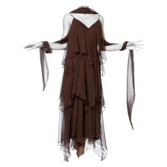 1970S ANTHONY MUTO Chocolate Brown Polyester Chiffon Disco Flapper Dress With S