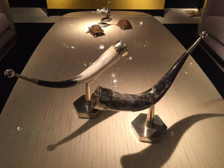 Pair of 1970s Anthony Redmile mounted horns with silver plated details and polished tiger eye Signed on the base.
