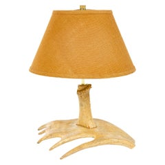 1970s Antler Table Lamp with Burlap Shade