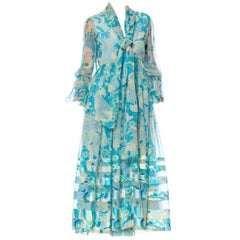 1970S Aqua Blue Floral Silk Chiffon Dress With Attached Scarf
