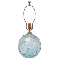 1970s Aqua Tone 'Lily Pad' Art Glass Lamp by Richard Harkness