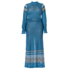 1970S Aquamarine Blue Poly/Lurex Knit Long Sleeved Maxi Dress With A Gold & Sil