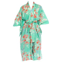 1970S Aquamarine & Pink Cotton Floral Kimono