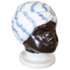 1970s Arab Bust Head Earthenware Pottery Container with Lid