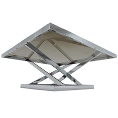 1970s Architectural Chrome & Glass Coffee Table