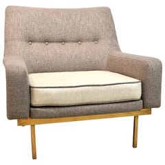 1970s Arflex Italian Brass Base Two-Tone Pepper Cream and Taupe Gray Armchair