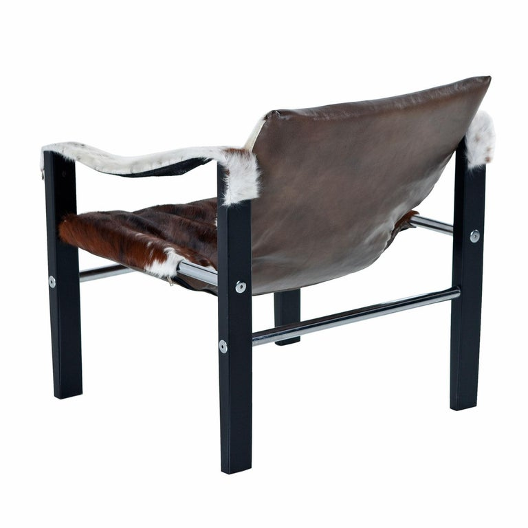 Mid-Century Modern 1970s Arkana Safari Sling Lounge Chair by Maurice Burke in New Cowhide Leather For Sale