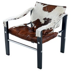 1970s Arkana Safari Sling Lounge Chair by Maurice Burke in New Cowhide Leather