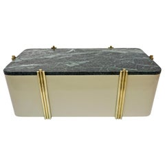 1970s Art Deco Green Marble and Cream White Lacquered Coffee Table or Bench