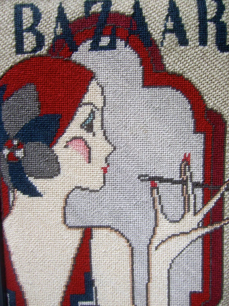 1970s Art Deco Inspired Framed Needlepoint Wall Hanging  In Good Condition For Sale In Santa Barbara, CA
