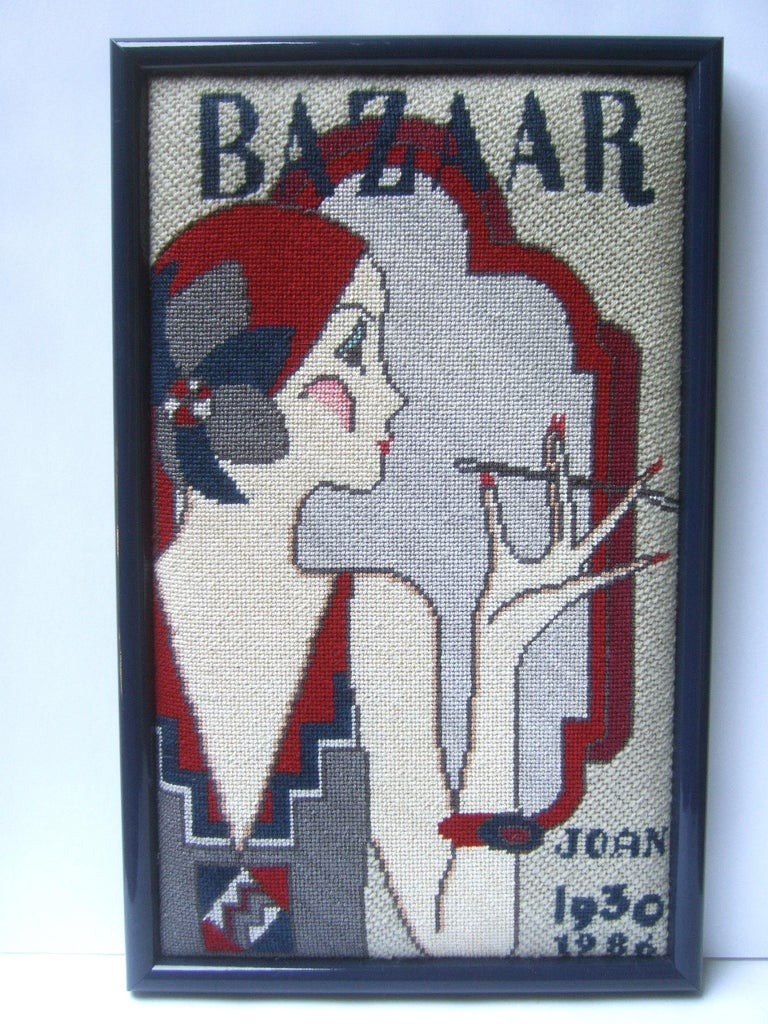 1970s Art Deco Inspired Framed Needlepoint Wall Hanging  For Sale 3
