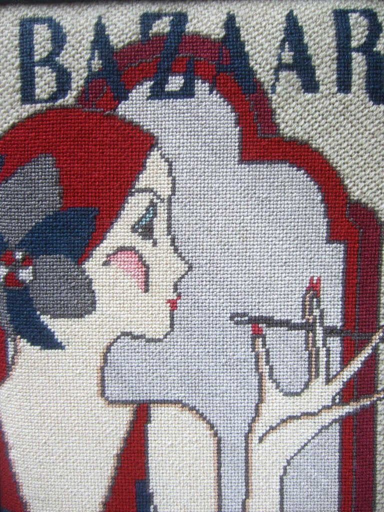 1970s Art Deco Inspired Framed Needlepoint Wall Hanging  For Sale 4
